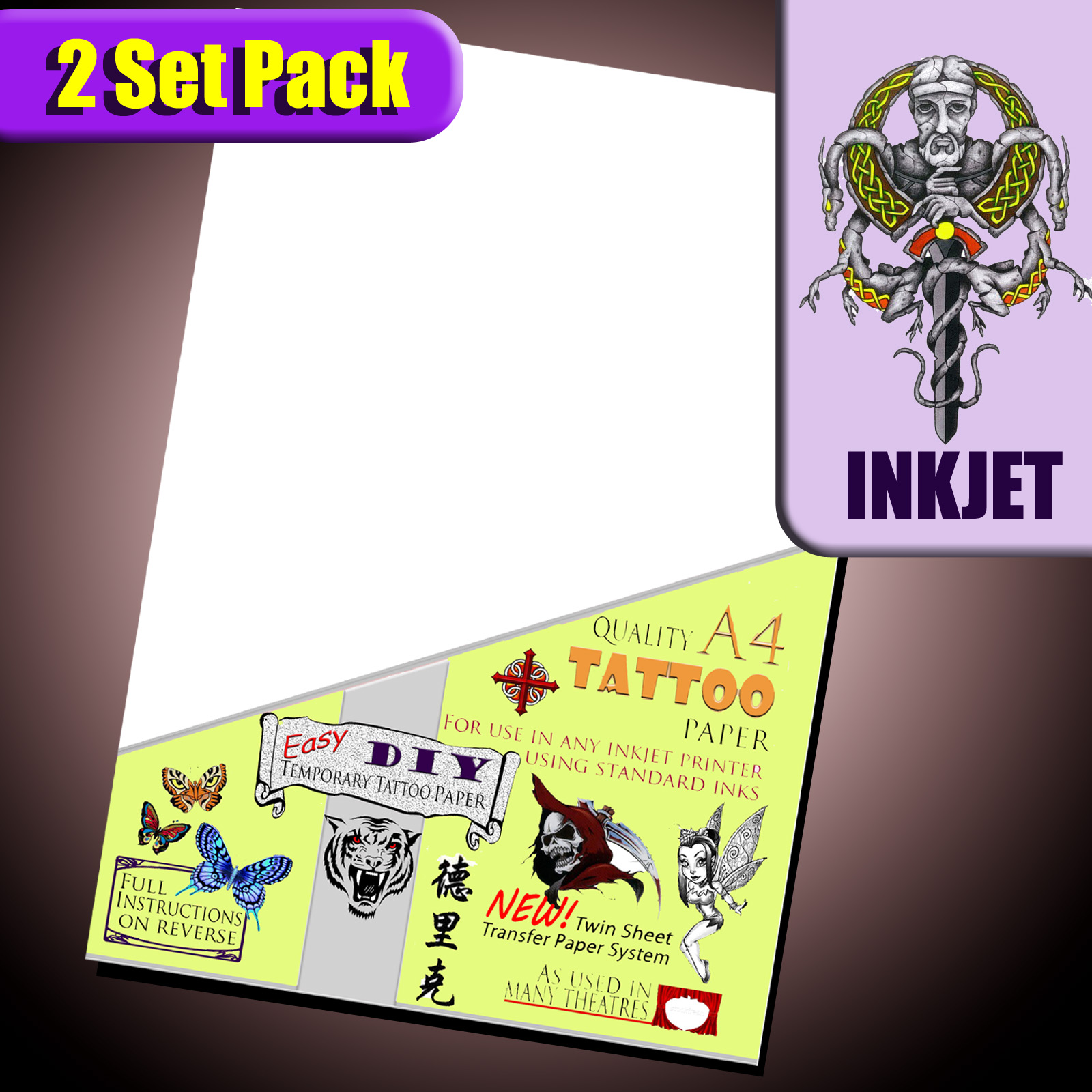 inkjet temporary tattoo paper Temporary tattoo paper, for inkjet and laser printer, make temporary tattoos with inkjet and laser tattoo paper.