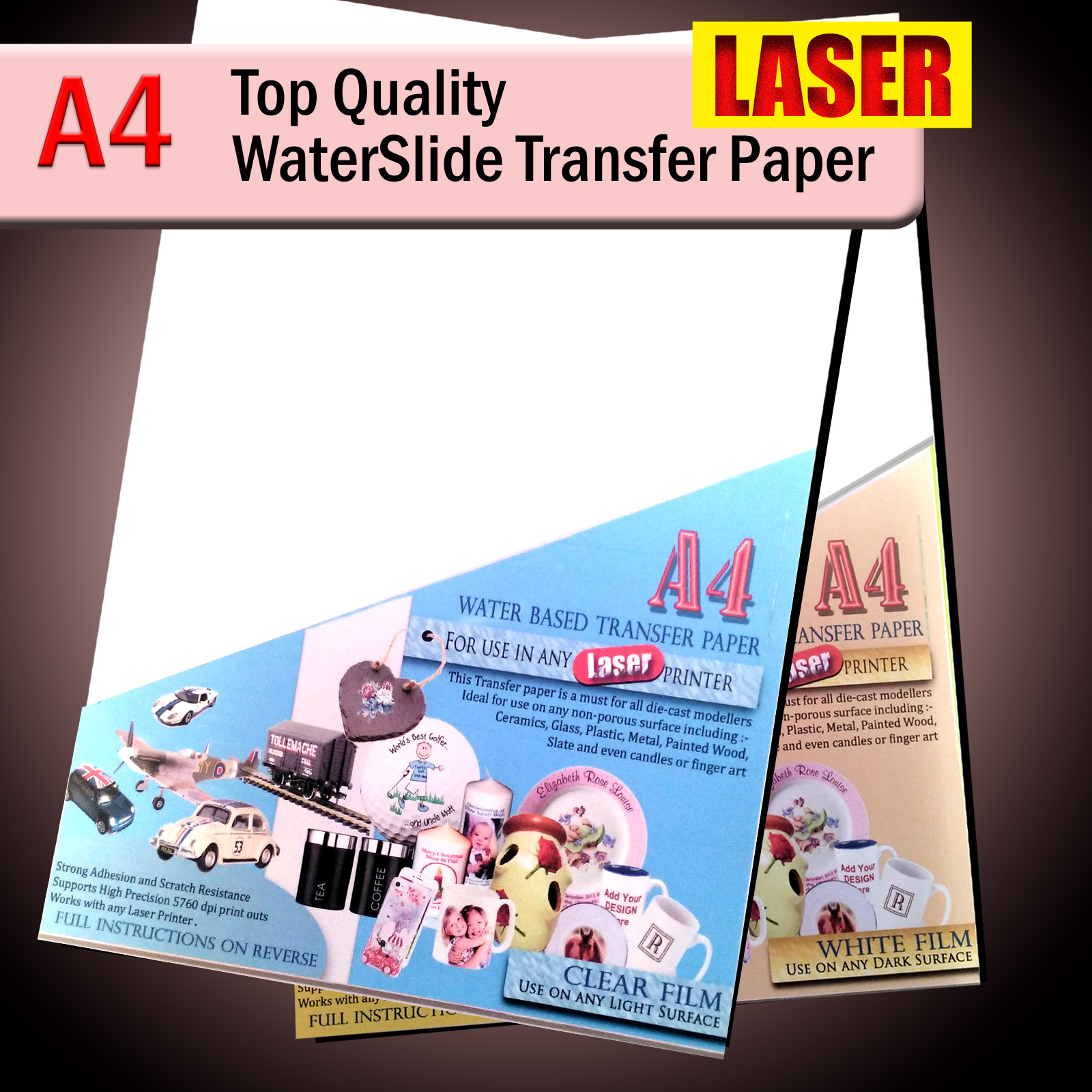 water transfer paper Transfer patterns or designs straight to fabric, paper, wood, metal or glass.