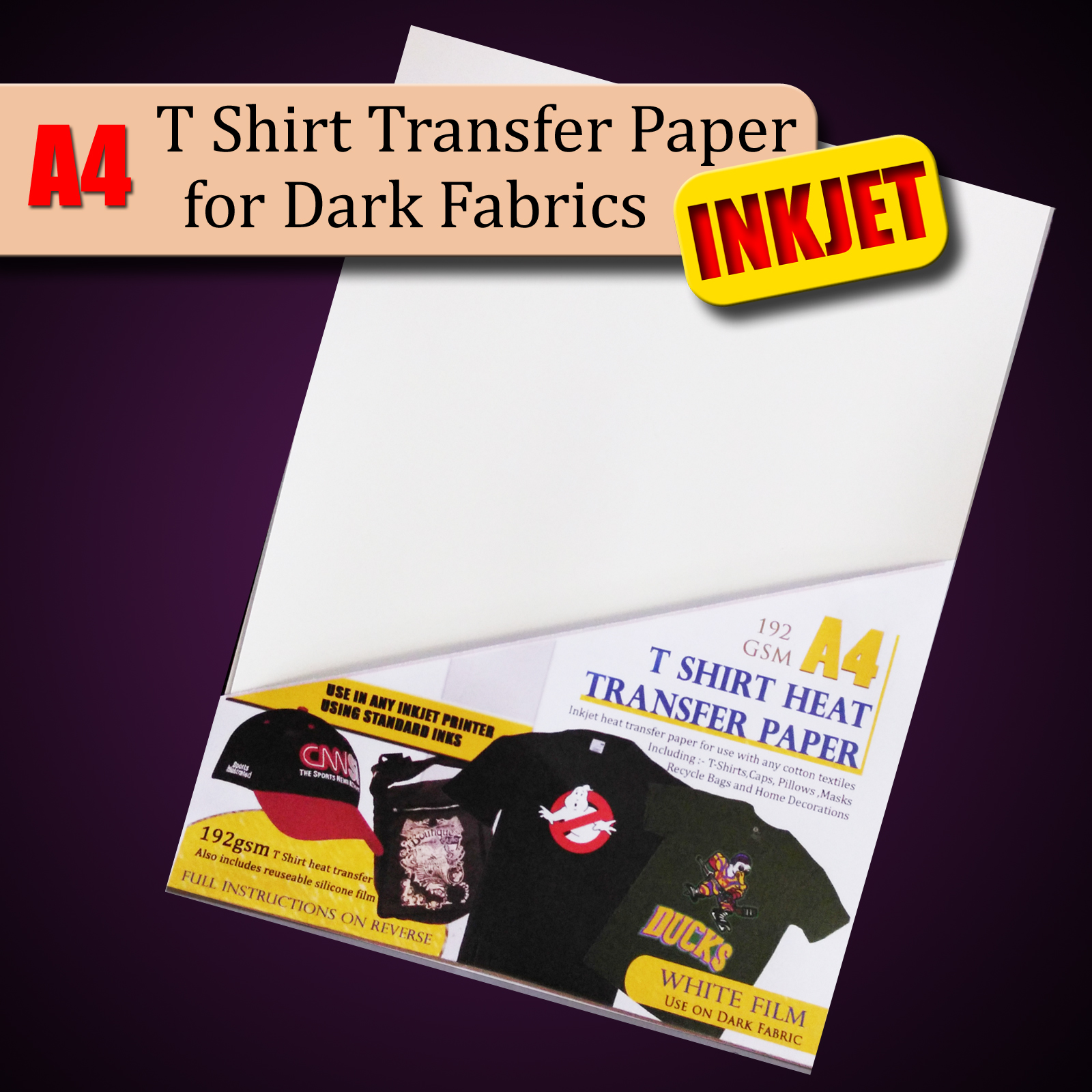 Details about T shirt Heat Transfer Paper For Dark Fabrics - 10 Sheet Pack  - A4 size - Inkjet